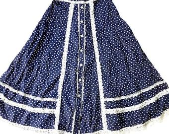 Vintage 70's Calico Print Prairie SKirt / navy Blue / White lace
