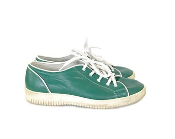 Vintage Escada E Sport Athletic shoes / Kelly Green Leather Tennis shoes / Sneakers / Size 38