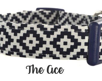Navy and White Patterned Dog Collar - The Ace