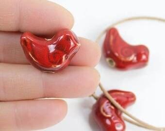 25%OFF Red Ceramic Bird bead, large 1 inch birdie Focal handmade Hole Glazed Greek Beads woodland natural Pendant blueroompottery 25X20mm