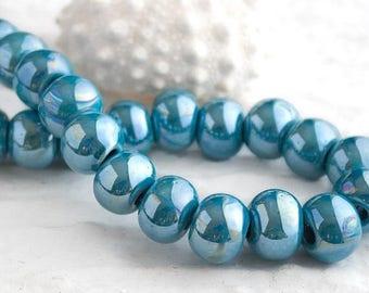 25%OFF Large Ceramic Blue Pearl Ball Large Hole Glazed Beads Enamel Luster turquoise round mosaic Organic rounds boho rustic 14mm 2 pcs