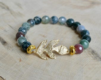 Indian Agate with Gold Leaf Bracelet