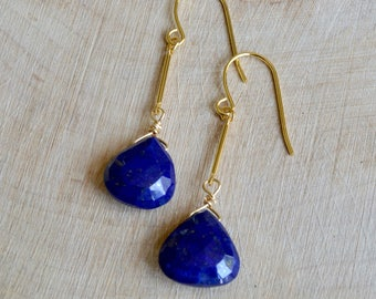 Lapis Lazuli Heart Briolette Earrings. Dangle Earrings.