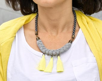 ROPE necklace, neon necklace, fabric necklace, gift idea, summer necklace, gift for her, simple necklace, statement necklace, necklace