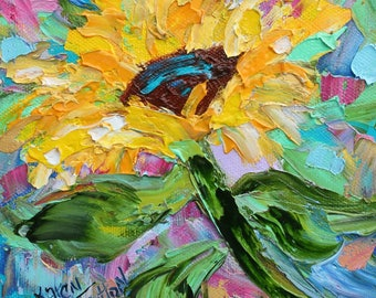 Sunflower Joy painting original oil 6x6 palette knife impressionism on canvas fine art by Karen Tarlton