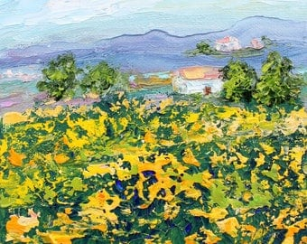 Provence Meadow painting original oil 6x6 palette knife impressionism on canvas fine art by Karen Tarlton