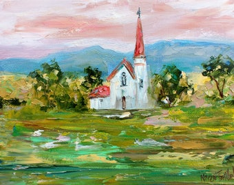 Take Me to Church painting original oil abstract impressionism fine art impasto on canvas by Karen Tarlton
