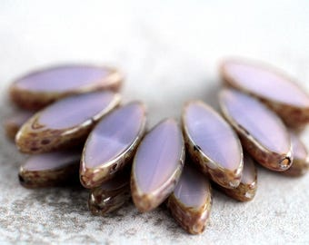 Opal Heather Picasso Czech Glass Beads, Spindle Table Cut Beads, Oval Beads, 18x7mm (12 pcs) NEW