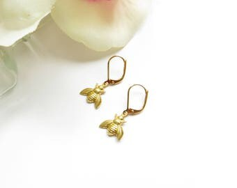 Queen Bee Earrings With Leverback Hypo Allergenic Hooks In Gold, Honey Bee