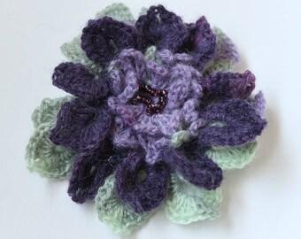 SALE - Dark Purple Light Green Lavender Color Acrylic Wool Yarn Fashion Crochet Flower Brooch Hat Hair Scarf Shawl Pin