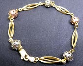 14K Gold Bracelet - Three Colors of 14K Gold - Yellow, White and Red Gold Signed RIB