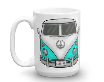 VW Bus Mug - Turquoise VW Camper Bus Coffee Mug - Classic Car Lover Gift - Volkswagen Bus Cup - Personalized Car Mug - Valentines Day Cars