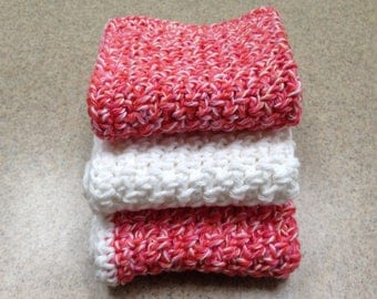 Handmade Cotton Wash Cloths / Dish Cloths in a Twist of Red and Pink and White - Set of 3
