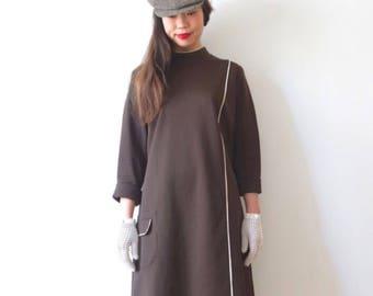 Dark brown vintage dress from Denmark, Medium, Kamomechan # 2