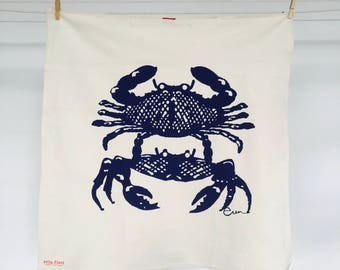 Navy Crabbies Tea Towel - READY TO SHIP