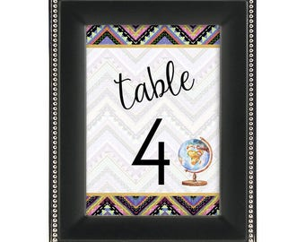 Table Numbers -  Tribal Aztec Print - Boho / Bohemian / Traveler / Globe - Wedding / Bridal Shower / Baby Shower / Party / Event Stationery