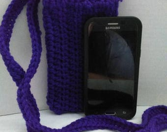 Crocheted purple cross body cell phone pouch