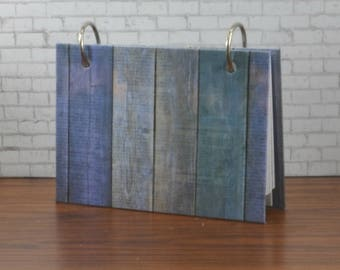 Hardcover index card binder, 3 x 5 or 4 x 6, blue wood design, address book, phone numbers or password information storage with tab dividers