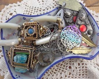 Vintage Jewelry Lot - Scarab - Mother of Pearl Bracelet - Dream Catcher - Red Moon - Celtic Cross Pendant - D124