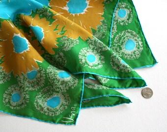 Retro Vera Neumann floral scarf, Vera daisy scarf, sunflower scarf, flower power scarf, aqua Vera scarf, kelly green scarf, mustard scarf