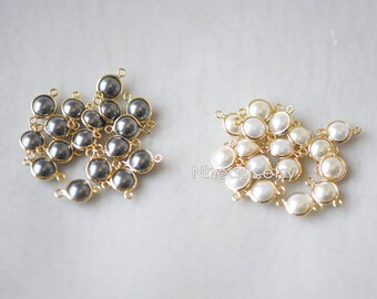 10pcs Gold Framed Crystal Coin Charms 14x8mm, Gold plated Brass Bead Connectors (GB-133)