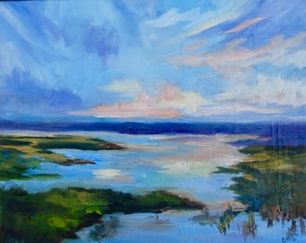 16 x 20 Modern Impressionist Marsh Sunset Original South Carolina Oil Painting by Rebecca Croft