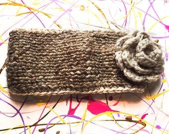 Brown Wool Winter Headband with Flower