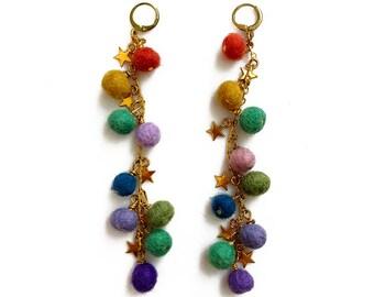 Pom Pom Earrings, Long Statement Earrings, Bohemian Earrings, Multicolor Felt Earrings