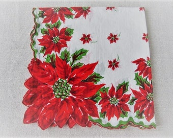 Vintage Christmas Handkerchief, Ladies Cotton Linen Hankie with Poinsettias and Holly, Vintage Gift Wrap, Vintage tea Napkin, ECS, FREE SHIP