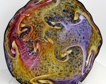 Beautiful Hand Blown Glass Art Wall Platter Bowl 7788 Pink gold purple black ONEIL