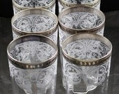 Set of 8, Cambridge, Windows Border No. 704, Crystal with Sterling Silver Trim,  Flat Tumblers