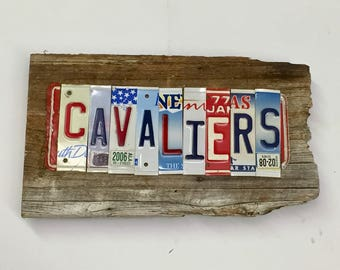 CAVALIERS recycled license plate art sign tomboyART tomboy