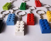 4 Keychains - Choose your own colors! - Upcycled/repurposed (blue/yellow/red/green/black/white)
