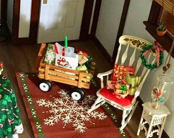 SALE Miniature Snowflake Christmas Rug, Dollhouse Miniature, 1:12 Scale, MIni Rug, Dollhouse Accessory, Decor, Crafts