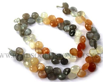 Semiprecious Gemstone Natural Multi Moonstone Faceted Heart Beads (Quality AA), 7.5 to 9, MOO-017, Craft Supplies For Jewelry Making