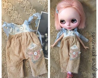 Blythe doll tattered overalls vintage style blue spots with buttons and lace handmade by Olive Grove Primitives