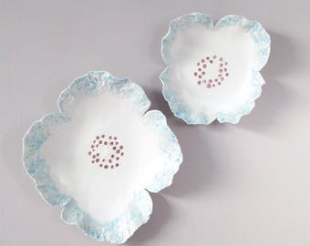 FRILLY flowers ceramic wall art, two sculpted porcelain flowers, fine art ceramic flowers, white porcelain celadon blue glaze