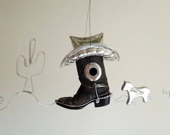 Cowboy Boot Birdhouse With Horse and Seguro Cactus Cookie Cutters Free Shipping In USA