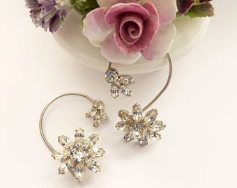 Rare Vintage Rhinestone Ear Climber Earrings with Crystal Flowers in Silver Tone Setting - 2 Inch Earrings by Weisner