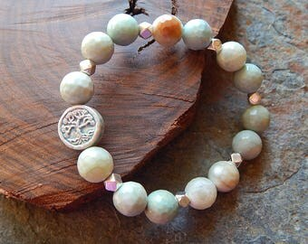 Tree of life bracelet - amazonite - stretchy stone stacking bracelet - pale blue and light brown beaded bracelet - rustic bohemian jewelry