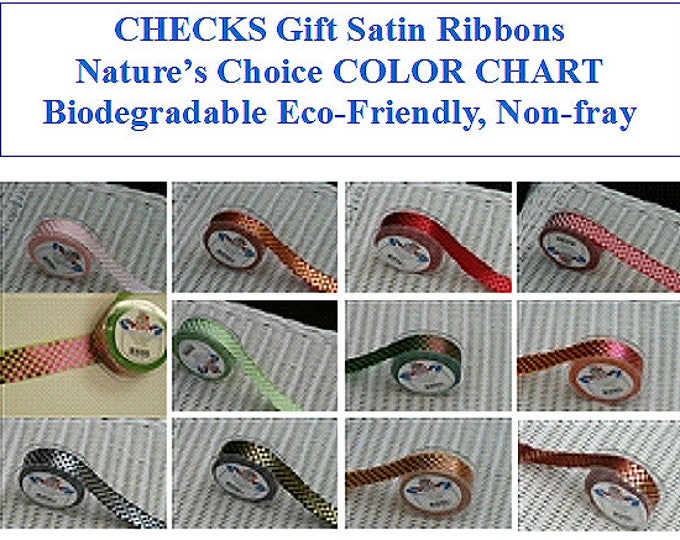 CHECKS Printed Gift Satin Ribbon 1 inch (24 mm), non-fray edge Nature's Choice Biodegradable Ribbon, Made in England, great for gift wrap