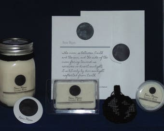 Moon Phase Candle, NEW MOON, Soy Candle, Wax Melts, Moon Key chain, Birthday Card, Button Pin