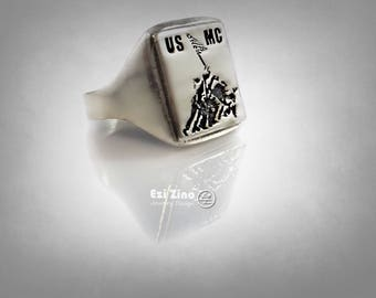 Raising The Flag On Lwo Jima WWII United States Navy Ring Solid Sterling Silver 925 by : Ezi Zino