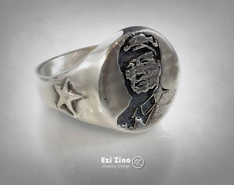 Mao Zedong Chinese Communist Portrait Sterling Silver 925 Ring by EZI ZINO