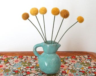 Mustard Pom Pom Flowers WITH Vase.  Pastel Turquoise Rustic Pottery Jug Creamer.   Felt Flowers Floral Arrangement.  Small Centerpiece.