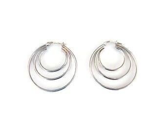 Sterling Silver Hoop Earrings, Triple Hoops, Silver Hoops, Modernist Jewelry, Vintage Earrings, Vintage Jewelry