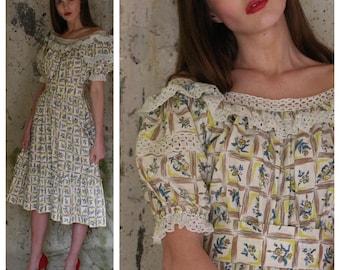 1940's Cotton Dress / Eyelet Lace Dress / Forties Dress / Mad Men / Garden Party Dress / War Era Dress / Botanical Dress / Off shoulder