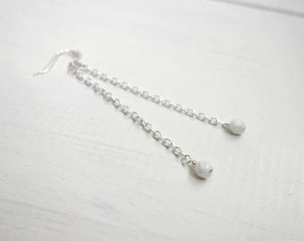 Long chain earrings white bead earrings long dangle earrings minimalist long earrings for women