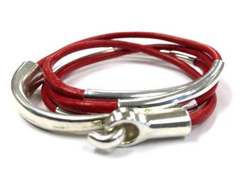Wrap Bracelet, Red Leather Leather Jewelry, Cuff Bracelets, Gift for Her, 3mm Red Leather, Wrap Bracelet, Bangles, Cuff, Tubes, Hook
