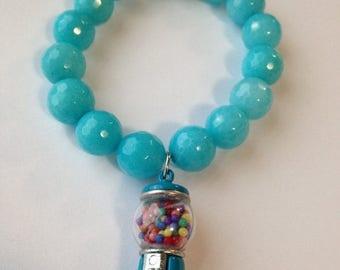 BIG Clearance Sale Bubblegum Machine Charm Blue Bead Stretch Bracelet